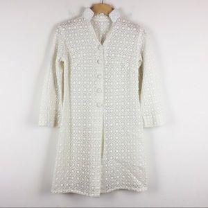 Vintage shirt lace button front kaftan blazer